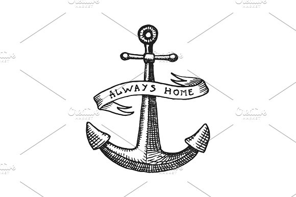 Anchor engraved vintage in old hand drawn or tattoo style, drawing for marine, aquatic or nautical theme, wood cut, blue logo