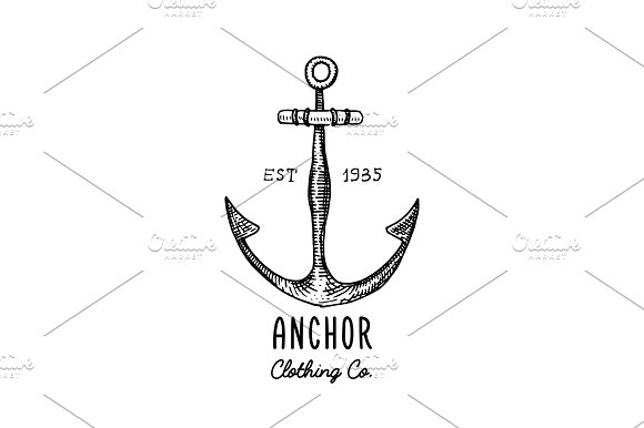 Anchor engraved vintage in old hand drawn or tattoo style, drawing for marine, aquatic or nautical theme, wood cut, blue logo in Illustrations