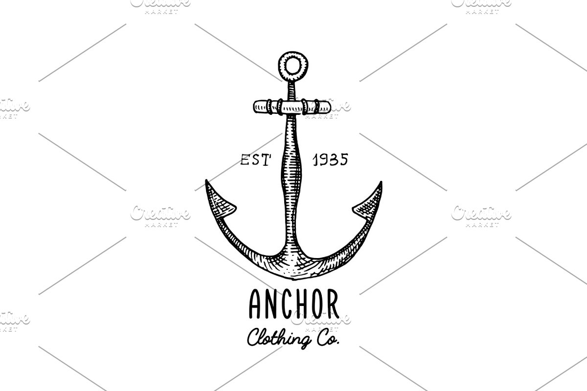 Anchor engraved vintage in old hand drawn or tattoo style, drawing for marine, aquatic or nautical theme, wood cut, blue logo in Illustrations - product preview 8