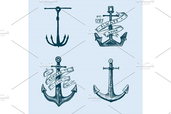 Anchor Engraved Vintage In Old Hand Drawn Or Tattoo Style Drawing For Marine Aquatic Or Nautical Theme Wood Cut Blue Logo