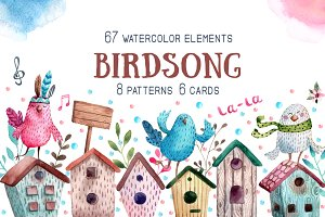 Birdsong - Watercolor Clip Art Set