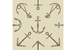 Seamless vector pattern with engraved, hand drawn anchors, old lookind vintage texture.