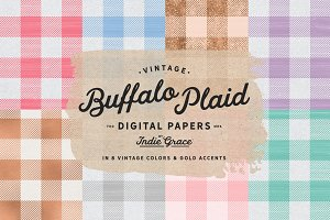 Pastel Plaid Vintage Digital Papers