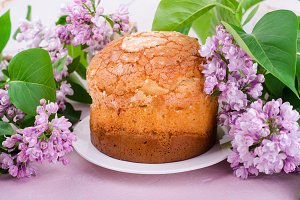 Tasty traditional italian pannetone cake with lilac flowers on pink background. Selective focus. Toned image