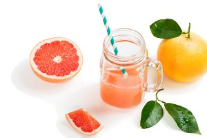 Grapefruit drink and fruit.