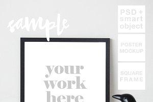Black Square Frame Mockup + PSD