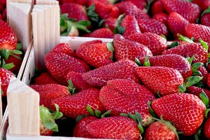 Strawberries boxes at the market
