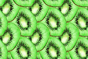 Watercolor kiwi seamless pattern