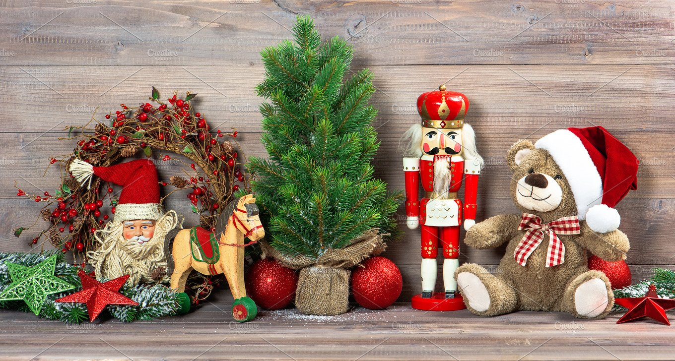 christmas toys decoration holiday photos creative market - Nostalgic Christmas Decorations