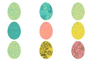 Painted Easter eggs clipart set