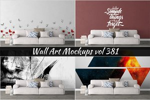 Wall Mockup - Sticker Mockup Vol 381