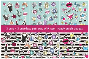 3 sets with trendy patch badges
