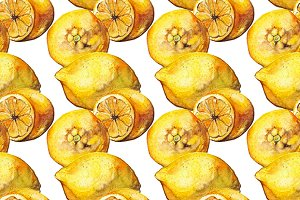Watercolor lemon seamless pattern