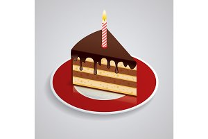 A piece of chocolate cake with one candle on a saucer. Celebrating the birthday of 1 year. The food is sweet. Isometric Piked. Isolated on white background.