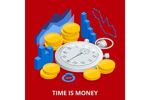 Time is money concept. Balancing Time and Money. Flat vector isometric illustration