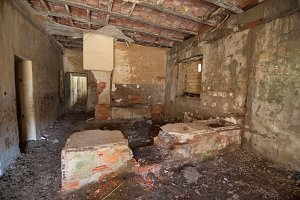 Interior of ruined house