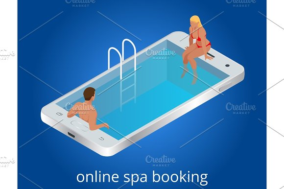 Online SPA Booking Concept Guests Can Book Online With Mobile Devices Tablets Desktops IPTVs Or Kiosks At Anytime From Anywhere Flat Isometric Vector Illustration