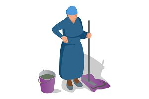 An old woman with a mop in her hand and a bucket is cleaning. Flat isometric vector illustration