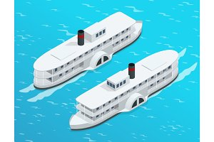 Isometric Old paddle steamer ship on the river. Water transport. Riding on the river. Flat 3d illustration. For infographics and design