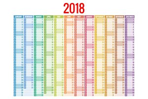 2018 calendar. Print Template. Week Starts Sunday. Portrait Orientation. Set of 12 Months. Planner for 2018 Year.