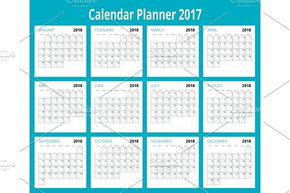 2018 Calendar Print Template Week Starts Sunday Portrait Orientation Set Of 12 Months Planner For 2018 Year