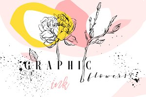 Graphic flowers collection