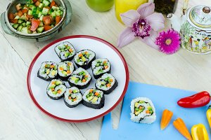 Home made vegan sushi rolls
