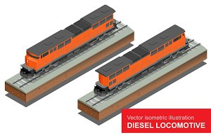 Vector isometric illustration of  Diesel Locomotivel. Train Locomotive Transportation Railway Transport vector flat 3d  isometric illustration