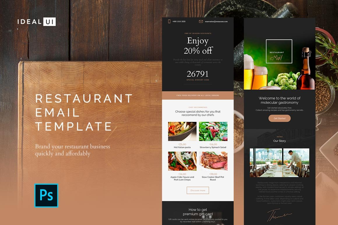 restaurant email template email templates creative market