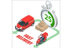 Isomertic Delivery service concept. Fast delivery truck, fast de