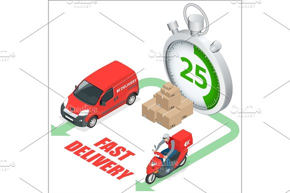 Isomertic Delivery Service Concept Fast Delivery Truck Fast De