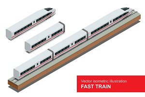 Modern high speed train. Vector isometric illustration of a Fast Train. Vehicles designed to carry large numbers of passengers. Isolated flat 3d vector isometric of modern high speed train