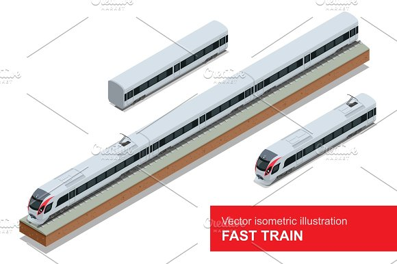 Modern High Speed Train Vector Isometric Illustration Of A Fast Train Vehicles Designed To Carry Large Numbers Of Passengers Isolated Flat 3D Vector Isometric Of Modern High Speed Train