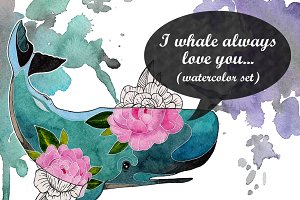 I whale always love U...(watercolor)