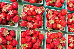 Baskets of red strawberries