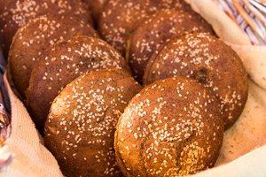 Wheat rolls in a basket