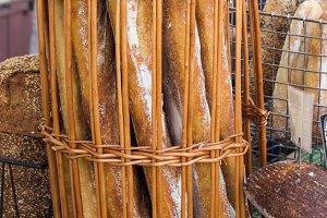 Wicker basket of bread