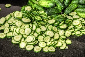 Sliced cucumbers