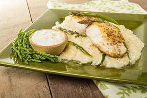 Halibut with asparagus risotto