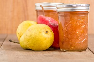 Pear jam in jars
