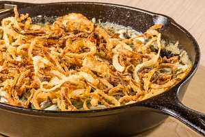 Fried onions in cast iron