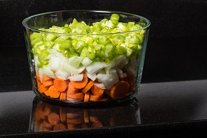 Chopped carrots onions celery