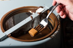Dipping chocolate candy
