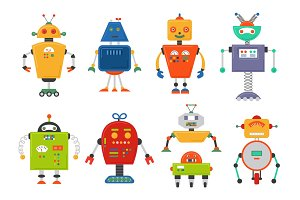 Funny Isolated robot set. Future robots isolated on white. Flat vector illustration set