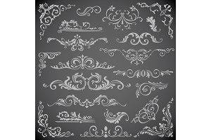 Dark Vector set of Swirl Elements for Frame Design. Calligraphic page decoration, Labels, banners, antique and baroque Frames floral ornaments. Wedding