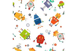 Robots seamless pattern. Children robo background. Color cute kids pattern