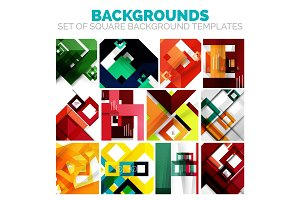 Set of colorful square abstract backgrounds