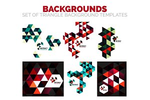 Set of colorful mosaic triangle backgrounds