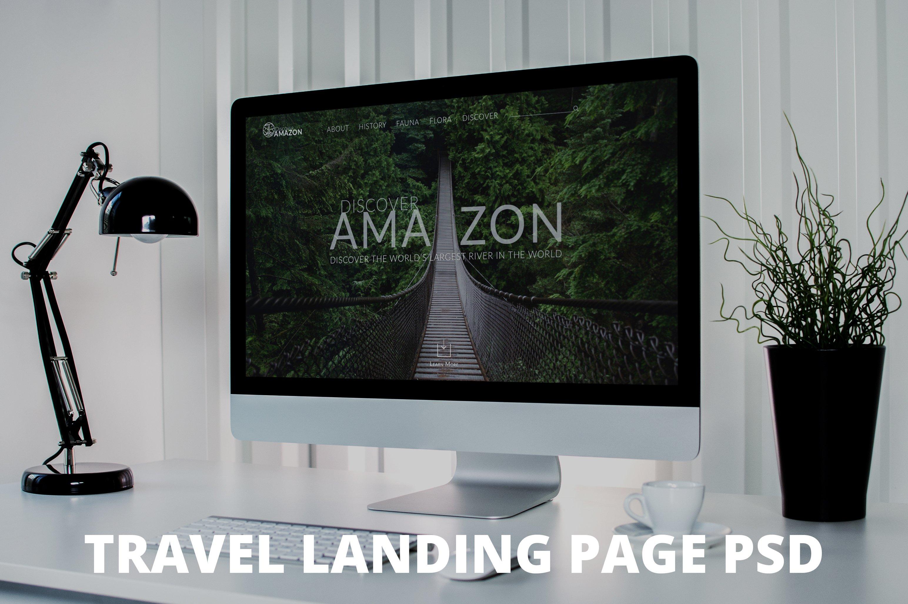 amazon river landing psd template creative landing page. Black Bedroom Furniture Sets. Home Design Ideas