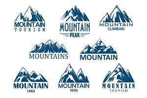 Mountain peak icon for outdoor adventure design
